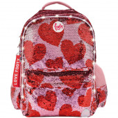 Mochila Escolar Footy Hearts Lantejoulas Vermelho LED 45cm
