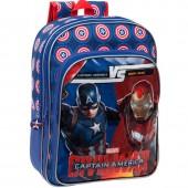 Mochila escolar grande adap trolley Marvel Iron Man vs Capitão América