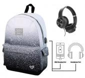 Mochila Escolar Miss Limonade Black Gradient com Headphones 43cm