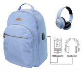 Mochila Escolar Miss Limonade Blue com Headphones 43cm