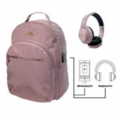 Mochila Escolar Miss Limonade Rose Gold com Headphones 43cm