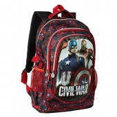Mochila escolar tripla Marvel Capitão America Civil War Shield