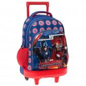 Mochila escolar trolley bolso lateral Marvel Iron Man vs Capitão América