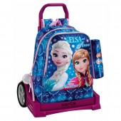 Mochila escolar + Trolley e estojo Frozen - Northern Lights 42cm carro Evolution