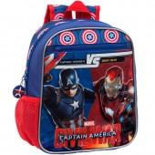 Mochila pre escolar 2 fechos Marvel Iron Man vs Capitão América
