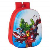 Mochila Pré Escolar Avengers 3D 33cm adap trolley