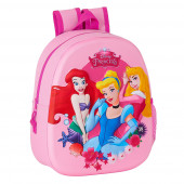 Mochila Pré Escolar Princesas 3D 33cm adap trolley