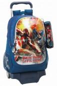Mochila trolley escolar + estojo Marvel Capitão América Civil War
