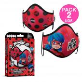Pack 2 Máscaras Reutilizáveis Ladybug 6-9 anos