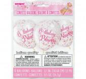 Pack 6 Balões Látex Birthday Princess Confettis