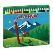 Pack de 24 Lápis de cor em caixa metálica - Alpino
