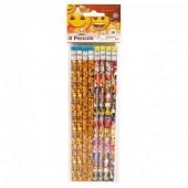 Pack de 8 lápis com borracha emoji