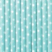 Palhinhas Papel Bolinhas Azul Céu 10 uni