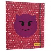 Pasta A4 Emojis com argolas e elástico - Rosa