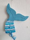 Pinhata Cauda Sereia Azul Glitter 45cm
