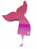 Pinhata Cauda Sereia Rosa Glitter 45cm