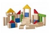 Plan Toys - 50 Blocos em Madeira