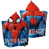 Poncho Praia Microfibra Spiderman Web Blue