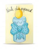 Postal Bebé Baptizado Azul