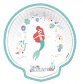 Pratos Concha Princesa sereia Ariel Under the Sea 4 unid