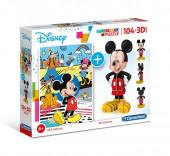 Puzzle 104 peças + Figura 3D Mickey