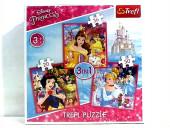 Puzzle 3 em 1 Princesas Disney