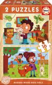 Puzzle Duplo Madeira 16 pç Animais de Estimação Educa