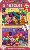 Puzzle Duplo Madeira 16 pç Festa de Disfarces Educa