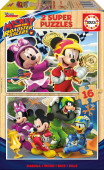 Puzzle Duplo Madeira 16 pç Mickey Super Pilotos Educa