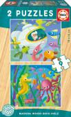 Puzzle Duplo Madeira 9 pç Animais Aquáticos Educa