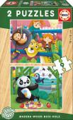 Puzzle Duplo Madeira 9 pç Animais do Zoo Educa