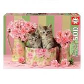 Puzzle Gatinhos com Rosas 500 peças