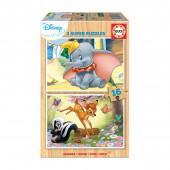 Puzzle Madeira 2x16 peças Dumbo e Bambi