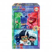 Puzzle Madeira 2x16 peças PJ Masks
