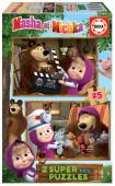 Puzzle Madeira 2x25 peças Masha e o Urso
