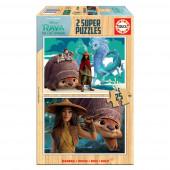 Puzzle Madeira 2x25 peças Raya e o Último Dragão