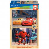 Puzzle Madeira 2x50 peças Pixar