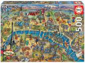 Puzzle Mapa de Paris - City Maps 500 peças