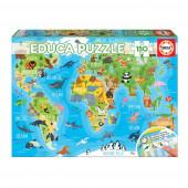 Puzzle Mapa Mundo Animais 150 peças