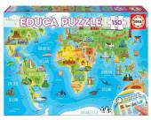 Puzzle Mapa Mundo Monumentos 150 peças