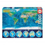Puzzle Neon Mapa Mundo 1000 peças