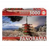 Puzzle Panorama Monte Fuji e Pagode Chureito 3000 peças