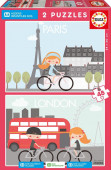 Puzzle Paris e Londres Aldeias SOS 2x48 peças
