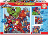 Puzzle Progressivo 4 em 1 Super Heroes Adventures Marvel