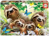Puzzle Selfie Família de Preguiças 500 peças