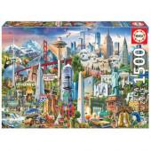 Puzzle Símbolos da América do Norte 1500 peças