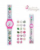 Relógio Analógico com Pins - Flamingo