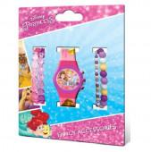 Relógio digital + bijuteria Princesas Disney