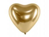Saco 50 Balões Latex Coração Dourado Glossy 12