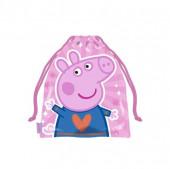 Saco Lanche Porquinha Peppa Coração 26cm